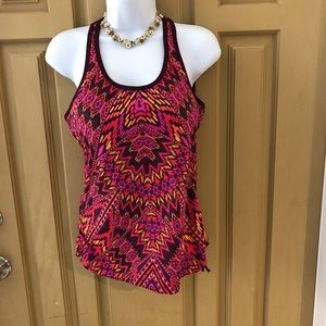 ATHLETA PINK GEOMETRIC PATTERN TANK TOP SZ M